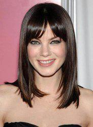 Charming Deep Brown Long Synthetic Trendy Side Bang Glossy Straight Capless Wig For Women -