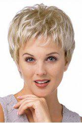 Vogue Full Bang Capless Two-Tone Mixed Synthetic Fluffy Natural Wavy Spiffy Ultrashort Women's Wig -
