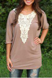 Stylish Scoop Neck 3/4 Sleeve Lace Spliced Loose-Fitting Women's T-Shirt