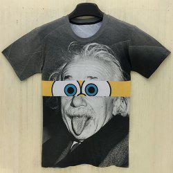 Slimming Round Neck 3D Cartoon Splicing Formula Print Short Sleeve Men's T-Shirt