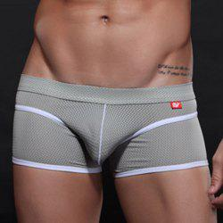 Pretty Sexy Mesh Design Breathable U Convex Pouch Men's Boxer Brief - GRAY