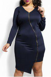 Fitted Knee Length Zippered Asymmetric Bodycon Dress
