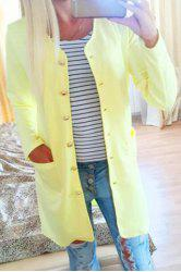 Refreshing Candy Color Single-Breasted Straight Trench Coat For Women