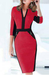 OL Style Round Neck 3/4 Sleeve Hit Color Zip Design Women's Bodycon Dress