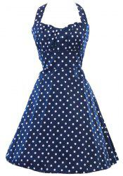 Vintage Halter Polka Dot Print Sleeveless Dress For Women