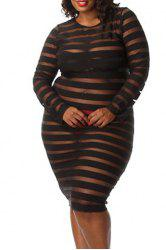 Plus Size Round Neck Stripes See-Through Long Sleeve Dress For Women