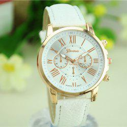 Geneva Golden Case Women Quartz Watch Double Scales Wristwatch Decorative Sub-dials Leather Band