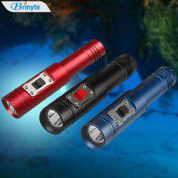 Brinyte DIV12 CREE XM - L2 U2 1000Lm 3 Modes Diving LED Flashlight Torch ( 18650 Battery + US Plug Charger) - BLUE