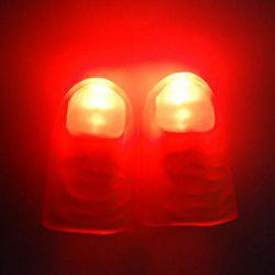 2Pcs Soft Flashing Thumb Tip Finger Fake Magic Trick Performance Props Halloween Decorations - RED