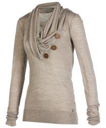 Stylish Cowl Neck Long Sleeve Button Design Draped Women's Sweatshirt - LIGHT BROWN