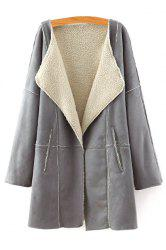 Stylish Turn Down Collar Long Sleeve Lamb Wool Women's Coat -