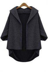 Batwing Sleeve Plus Size Wool Cape Jacket