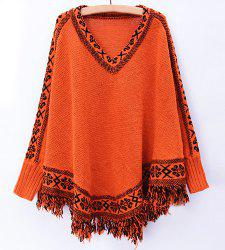Stylish V-Neck Jacquard Tassel Spliced Long Sleeve Sweater For Women - ORANGE