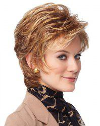 Sophisticated Short Capless Blonde Mixed Brown Synthetic Shaggy Wave Inclined Bang Women's Wig -