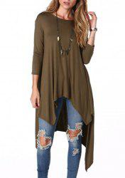 Casual Scoop Neck Loose-Fitting Long Sleeve Asymmetrical T-Shirt For Women