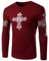 Modern Style Round Neck Color Block Special Cross Print Slimming Long Sleeves Men's Flocky T-Shirt - RED