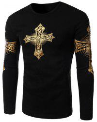 Modern Style Round Neck Color Block Special Cross Print Slimming Long Sleeves Men's Flocky T-Shirt - BLACK