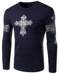 Modern Style Round Neck Color Block Special Cross Print Slimming Long Sleeves Men's Flocky T-Shirt - DEEP BLUE