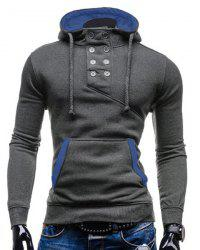 Trendy Hooded Double Breasted Pocket Hemming Slimming Long Sleeve Cotton Blend Hoodie For Men - GRAY