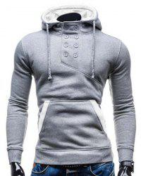 Trendy Hooded Double Breasted Pocket Hemming Slimming Long Sleeve Cotton Blend Hoodie For Men - COLORMIX
