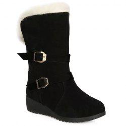Fur Trim Wedge Heel Mid Calf Boots - BLACK 38