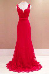 Vintage Backless Sleeveless Maxi Formal Lace Prom Dress - RED