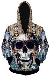 Slimming Hooded 3D Skull Pattern Long Sleeve Cotton Blend Hoodie -