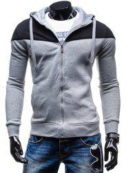 Fashion Two-Tone épissage Zip Up Hoodie Front Pocket Slimming capuche manches longues hommes - Gris Clair