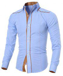 Stylish Shirt Collar Slimming Color Block Sutures Design Long Sleeve Polyester Shirt For Men - LIGHT BLUE
