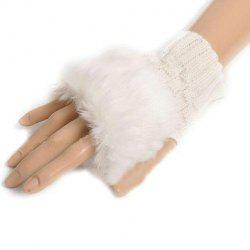Pair of Chic Faux Fur Embellished Knitted Fingerless Gloves For Women -