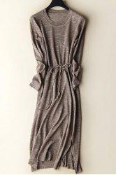 Slit Drawstring Knitted Dress