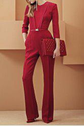 Fashionable Jewel Neck Solid Color 3/4 Sleeve Jumpsuit For Women