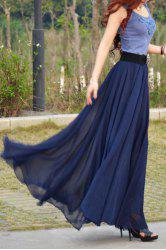 Stylish Scoop Collar Sleeveless Color Block Women's Maxi Dress - NAVY BLUE