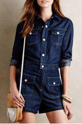 Stylish Turn-Down Collar Long Sleeve Single-Breasted Pocket Design Women's Denim Playsuit