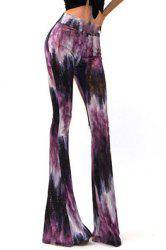 Stylish Elastic Waist High-Waisted Printed Women's Flare Pants