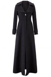 Stylish Lapel Long Sleeve One Button Women's Faux Wool Coat