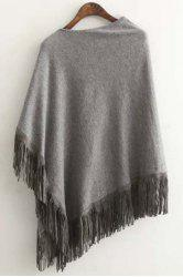 Casual Skew Neck Tessels Spliced Asymmetric Women's Cape Sweater - GRAY