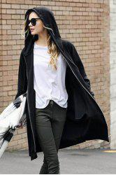 Fashionable Zipper Fly Solid Color Long Sleeve Hoodie For Women
