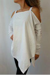 Fashionable Strapss Solid Color Long Sleeve T-Shirt For Women