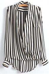 Striped Plunging Neck Wrap Blouse