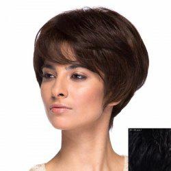 Assorted Color Short Elegant Side Bang Capless Fluffy Wavy Real Natural Hair Wig For Women -