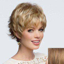 Elegant Short Side Bang Fluffy Wavy Side Bang Capless Human Hair Wig For Women -