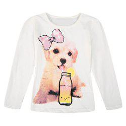 Stylish Long Sleeve Round Neck Dog and Bottle Pattern Girl's T-Shirt -