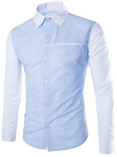 Store Modish Slimming Shirt Collar Two Color Splicing Sutures Design Long Sleeve Polyester Shirt For Men