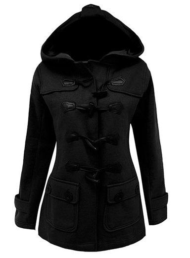 Stylish Hooded Solid Color Horn Button Slimming Long Sleeve Coat For WomenWOMEN<br><br>Size: XL; Color: BLACK; Clothes Type: Trench; Material: Polyester; Type: Slim; Clothing Length: Long; Sleeve Length: Full; Collar: Hooded; Pattern Type: Solid; Embellishment: Pockets; Style: Casual; Season: Winter; Weight: 1.010KG; Package Contents: 1 x Coat;