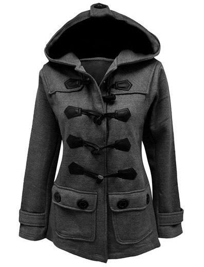 Trendy Stylish Hooded Solid Color Horn Button Slimming Long Sleeve Coat For Women