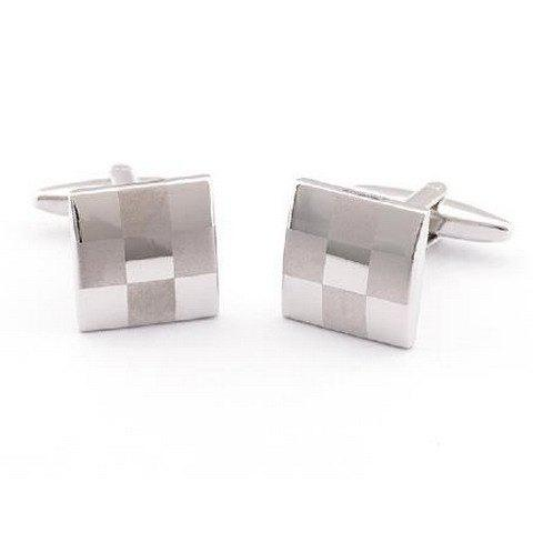 Store Pair of Stylish Checked Pattern Quadrate Cufflinks For Men