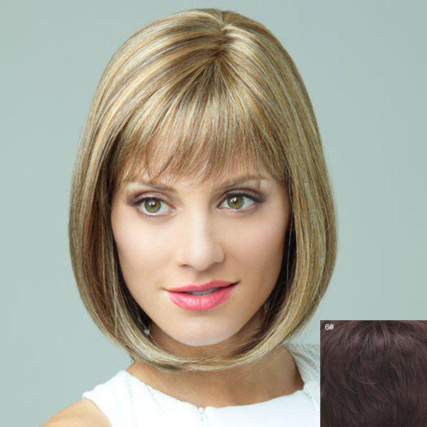 Chic Bob Style Attractive Capless Short Full Bang Straight Human Hair Wig For Women