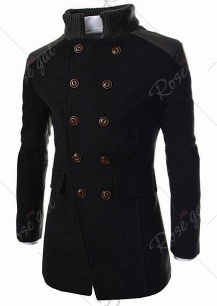 Slimming Stand Collar Inclined Top Fly Color Spliced Flap Pocket Mens Long Sleeves Peacoat