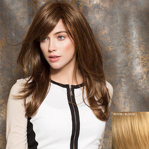 Fashion Charming Long Fluffy Natural Wavy Real Human Hair Women's Capless Wig With Side Bang